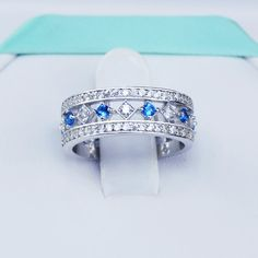 925 Sterling Silver Blue Topaz Simulated by 6GrapeFineJewelry