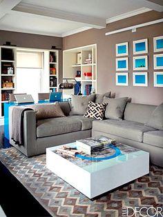 Decorator Kelly Behun designed the lacquer desk in the den. (Elle Decor/Eric Piasecki)