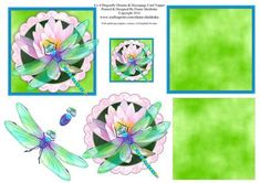 """4 x 4 Dragonfly Dreams Water Lily Decoupage Card Toppers on Craftsuprint designed by Elaine Sheldrake - I used one of my water color paintings for this pretty topper. The topper is 4"""" x 4"""" so will also fit 6 x 6 and 8 x 8 cards and leave space around the edges for you to add your own embellishments. It looks great just as a quick card front, but is stunning if you decoupage it as well. I have also included a small topper which is ideal for making gift tags with. - Now available for download!"""