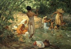 Bathers by Fernando Amorsolo. would love to hang this painting in my dream house