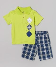 Solve the what-to-wear conundrum with this dashing duo. Decked out in the playfully printed polo and easy button-on shorts, little dudes will be ready to conquer playtime in cool style.