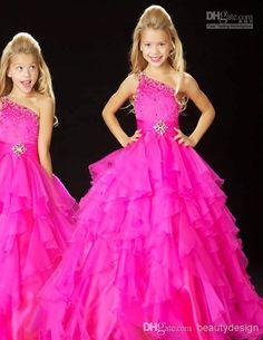 d79ef1255ab 2015 Cute Little Kids Flower Girls Pagenat Dresses Hot Pink Beaded Princess  Organza Sheer For Wedding Cheap