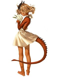 Dragon Girl & Rhododendron by Sophie Story Fantasy Character Design, Character Creation, Character Design Inspiration, Character Art, Character Concept, Fantasy Kunst, Fantasy Art, Fantasy Races, Fighter Girl