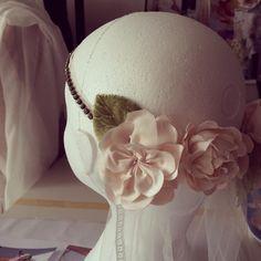 Developing veil ideas with Edwardian diamanté jewels, vintage lace and handmade silk roses #bride #wedding #vintage #silk #rose #veils #handmade #bespoke #taradeighton