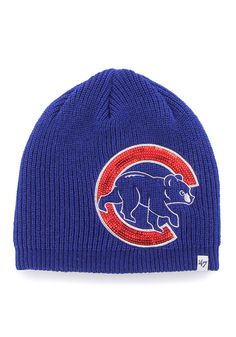 97127a121ed  47 Chicago Cubs Blue Sparkle Beanie Womens Knit Hat - 4808535.