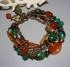 10 OFF SALE  Turguoise Carnelian Bracelet with Brass  by nina68, $46.80