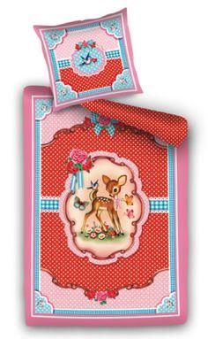 Cotton-Candy-Sweet-Deer-Red-Pink-Polka-Dot-Retro-Kitsch-Single-Bedding-Duvet-Set