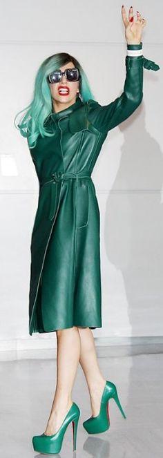 Emerald Lady Gaga. Pantone. Green hair. The International Best-Dressed List 2011 | Vanity Fair