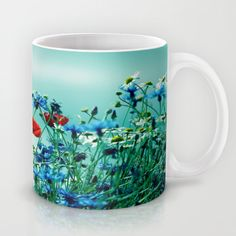 Cornflowers, poppies and chamomile in vintage look Mug