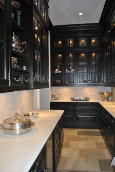 Butler's Pantries ~ Like the idea of black glass door cupboards for the hutch ~