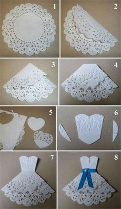 Diy wedding cards handmade ideas new Ideas Paper Doily Crafts, Doilies Crafts, Diy Paper, Origami Paper, Origami Dress, Bridal Shower Cards, Bridal Shower Umbrella, Dress Card, Card Tutorials