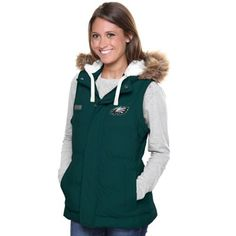 Pro Line Philadelphia Eagles Womens Yukon Vale Full Zip Vest - Midnight Green