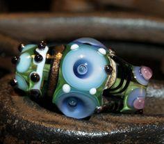 green barrel bead handmade glass bead SRA OOAK by CorneliaLentze, $29.00