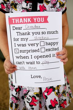 Birthday thank you letter | Free printable fill in the blank thank you letters for kids!