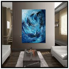 LARGE ARTWORK Original PAINTING Blue abstract Modern Art Original Contemporary Art Deco Palette Knife Oversize canvas large artwork on Etsy