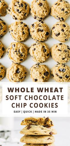 Whole Wheat Soft Chewy Chocolate Chip Cookies are simply the best. Soft, chewy, chocolatey interior and lightly crunchy exterior. Quick and Easy Recipe. This is also a more healthy(ish) homemade chocolate chip cookie recipe, using not only all-purpose flour but whole wheat flour too. Perfect everyday cookie recipe. #chocolatechipcookies #recipe #cookierecipe #easydessert