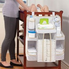 Storage For Baby Nursery – Baby Crib Diaper Caddy Hanging Diaper Organizer