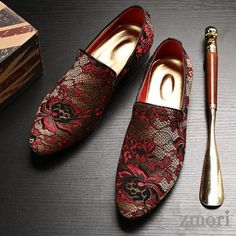 Black Red Gold Lace Embroidery Mens Oxfords Loafers Dress Shoes Flats – Men's style, accessories, mens fashion trends 2020 Gold Lace, Red Gold, Red Black, Black Box, Prom Shoes, Men's Shoes, Shoes Men, Ladies Shoes, Stylish Shoes For Men