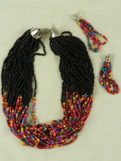 Multi colored multi strand seed bead necklace