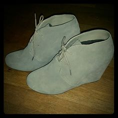 DV by Dolce Vita Suede Wedge Booties Worn once. Light tan suede, excellent condition. Gives you the height with more of the comfort. DV by Dolce Vita Shoes Wedges