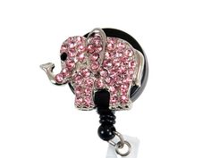 SIZZLE CITY New Custom Bling Pink Elephant ID Badge Pull Reel Retractable ID Badge Holders