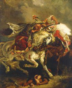 Combat du Giaour et du Pacha, par Eugène Delacroix / 1835 .