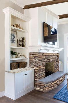 Cascade Rustic Ledge Stone, white mantel, granite