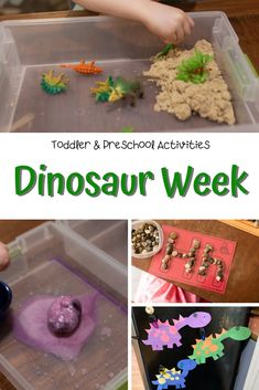 Dinosaur activities toddlers will love, as well as older children! Dinosaur fizzy eggs and other sensory activities with a dinosaur theme too. Toddler Gross Motor Activities, Dinosaur Activities, Fun Activities For Toddlers, Pre K Activities, Dinosaur Crafts, Phonics Activities, Sensory Activities, Kindergarten Activities, Toddler Preschool