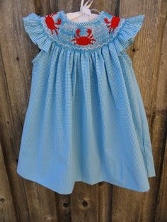Smocked Crab Dress from Smocked Auctions
