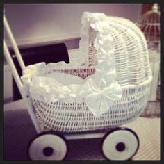 White wicker baby carriage by @mylittlesparkleboutique #white #wicker #carriage pinned by wickerparadise.com