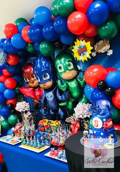 3 Year Old Birthday Party Boy, Colorful Birthday Party, Superhero Birthday Party, 4th Birthday Parties, Boy Birthday, Pjmask Party, Party Ideas, Decoracion Pj Mask, Pj Mask Party Decorations