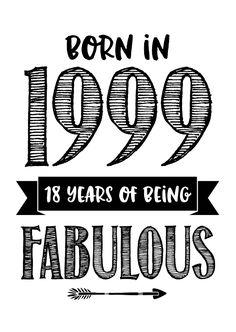 Verjaardagskaart Born in 1999, verkrijgbaar bij #kaartje2go voor € 0,99