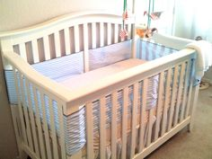 crib 'bumper' using only breathable cotton and no padding. Would use ribbon ties to make it cuter.