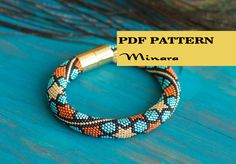 Pattern for beaded crochet bracelet - Seed beads crochet rope - Crochet bangle - Orange turquoise black - Moroccan geometry star pattern by HitoriToraWorkshop on Etsy