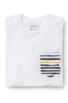 CAMISETA BOLSO BRANCO PAINTED STRIPES Camisa Branca Masculina 9791a4a8c1b54