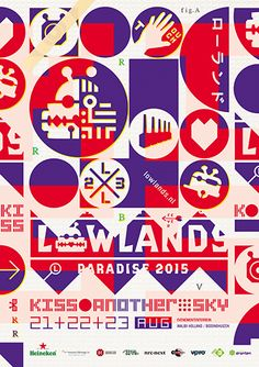 A campingflight to Lowlands paradise 2015 [Kiss another sky] poster [featuring festival icon Rapid Razor Bob] by Twizter Designers Peter te Bos and Wouter van der Struys. www.twizter.nl - http://www.lowlands.nl/en