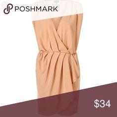 Topshop nude short dress Super cute light weight topshop dress. In like new condition Topshop Dresses Midi