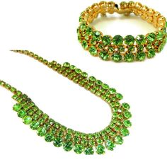 "A gorgeous vintage 1950s rhinestone set in Peridot or Spring Green. This set has such a glamorous appeal. The choker necklace measures 16"" from end to end and can be worn shorter with the hook clasp."