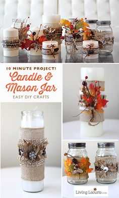 Fun 10 minute project! How to make Candle and Mason Jar Crafts for DIY Gifts. LivingLocurto.com