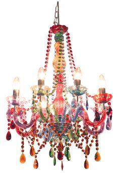 Colourful glass chandelier.  http://www.worldstores.co.uk/p/Febland_Festival_Chandelier.htm