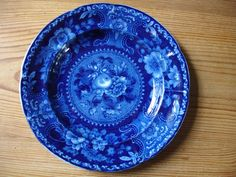 Dark Blue and White Floral Fruit Staffordshire Stubbs Plate 19th Century   eBay