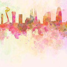 Barcelona skyline in watercolour background
