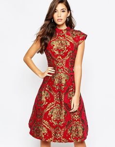 Image 1 of Chi Chi London High Neck Baroque Print Structured Skater Dress