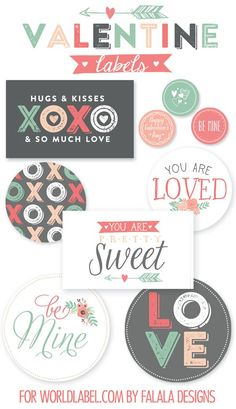 Valentines in Peach, Pink, Mint and Charcoal – Free Printable Download. Cute Valentine's Day decor.