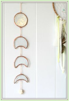 White Gemstone Moon Phase Stained glass wall hanging Lunar