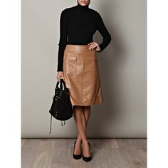 lace off shoulder top with brown leather skirt | Outfits ...