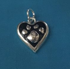 Dog/Cat Heart Paw Print Charm Sterling Silver Plated