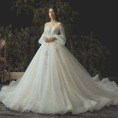Luxury / Gorgeous Ivory Wedding Dresses 2019 Ball Gown Lace Flower Beading Crystal Sequins Strapless Long Sleeve Backless Royal Train - Wedding Dress With Sleeves Wedding Dress Tea Length, Dream Wedding Dresses, Bridal Dresses, Wedding Shoes, Wedding Flowers, Lace Flowers, Ball Gown Wedding Dresses, Pagan Wedding Dresses, Elven Wedding Dress