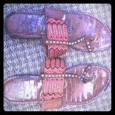 Leather Aztec sandals Cute toe detail & fun gold studs. Compete your festival look without and they're already worn in! Shoes Sandals