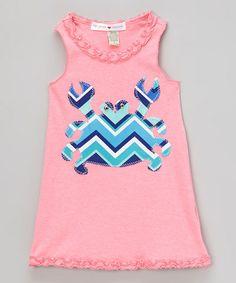 Look what I found on #zulily! Bubblegum Pink Zigzag Crab Tank Dress - Infant, Toddler & Girls by mini scraps #zulilyfinds
